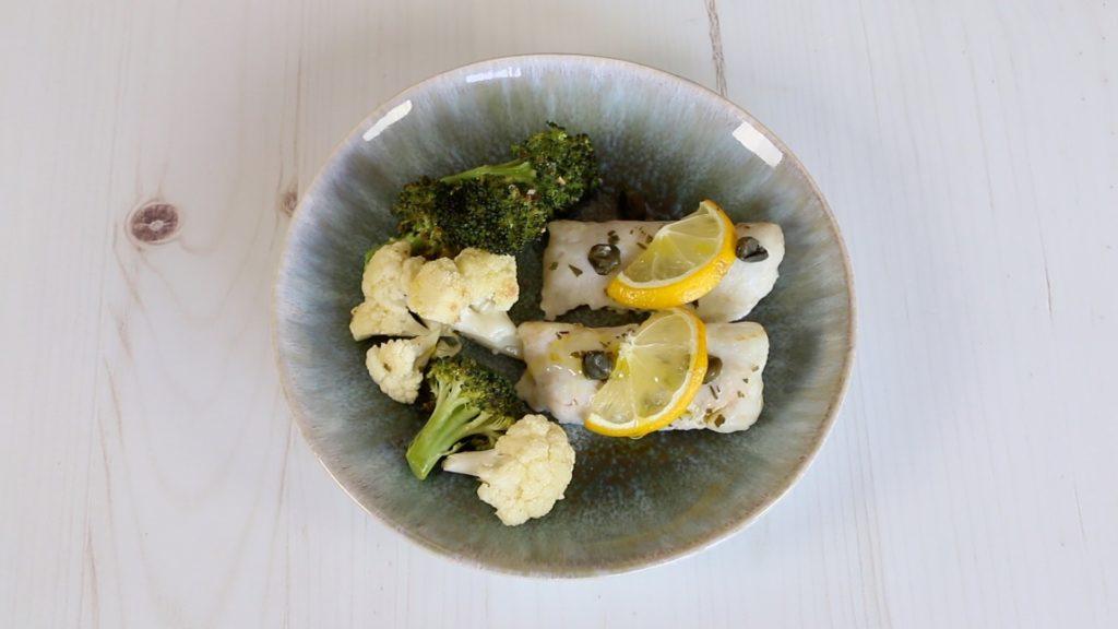 Mimos de Pescada com Brócolos e Couve-flor