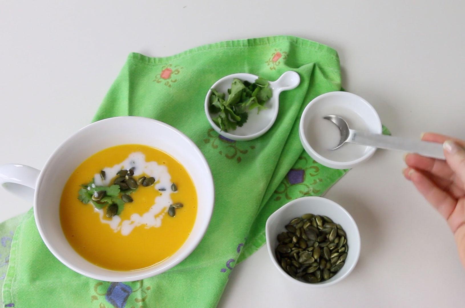 Sopa de Abóbora e Leite de Côco