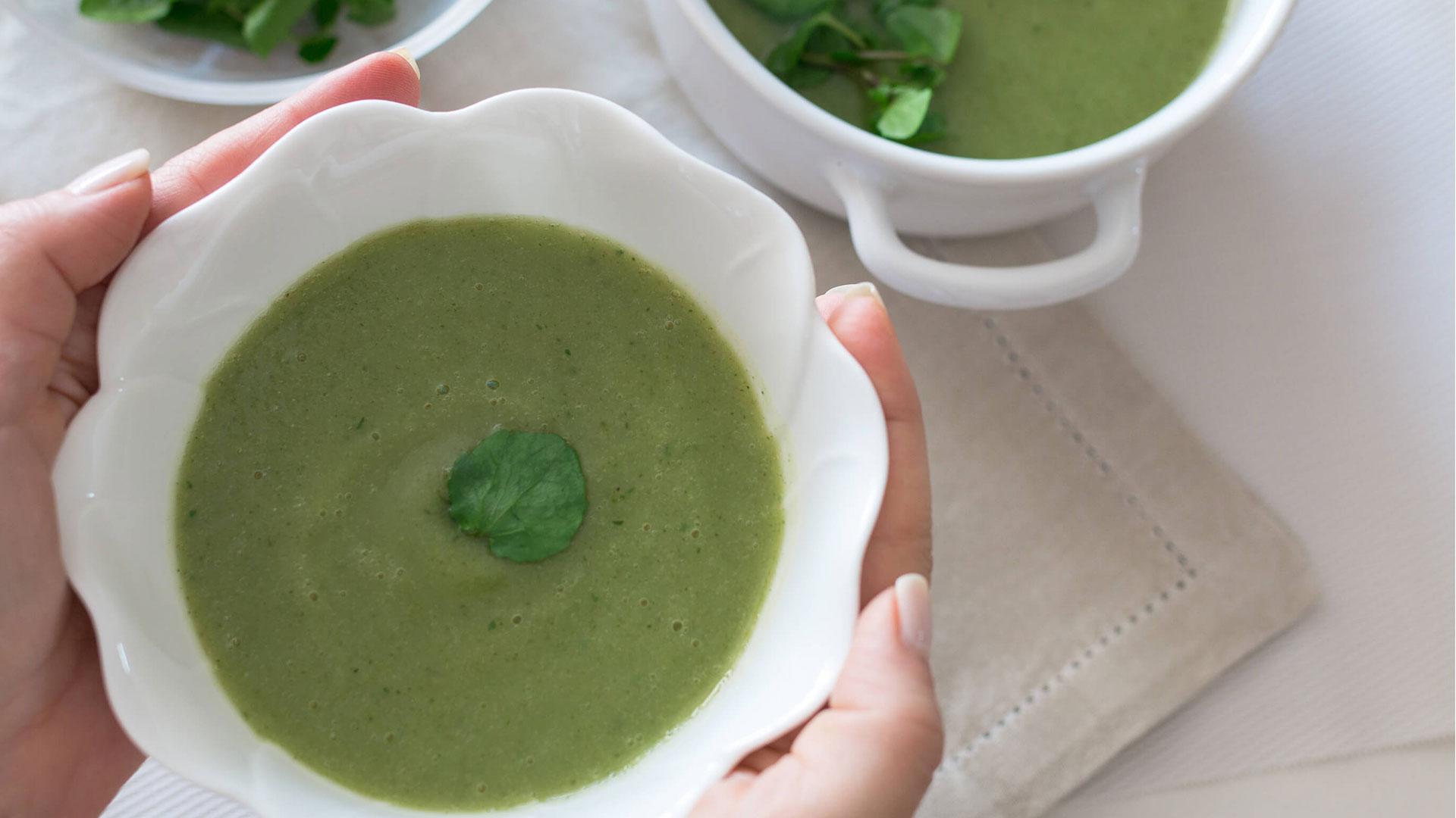 Sopa de Agrião e Couve-Flor