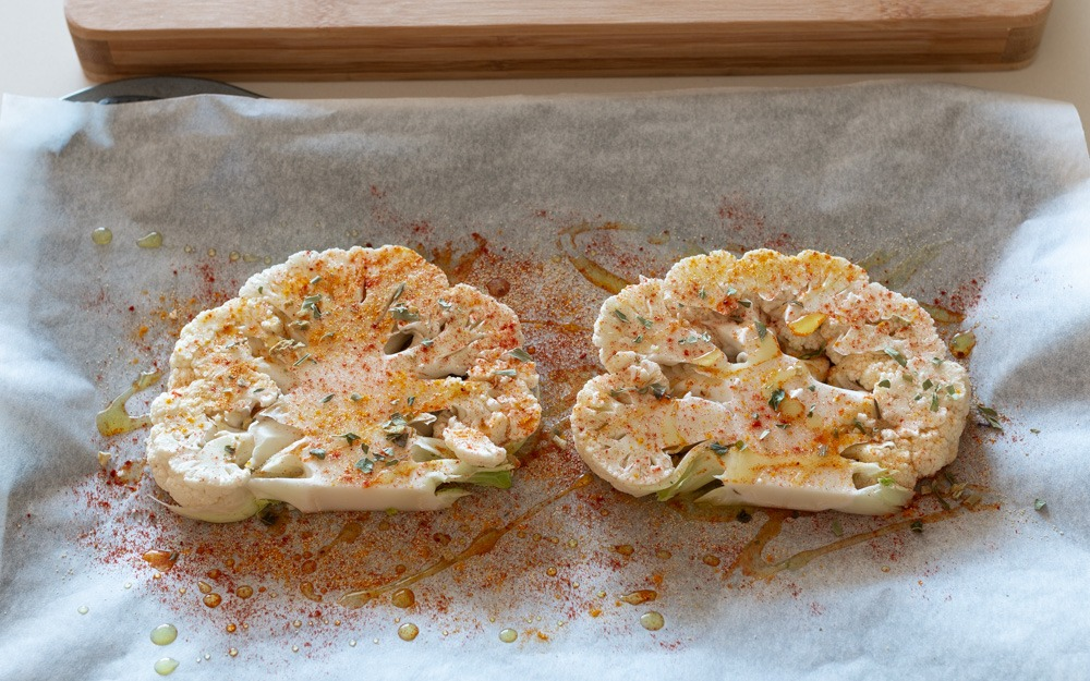 Bifes de Couve-flor no Forno